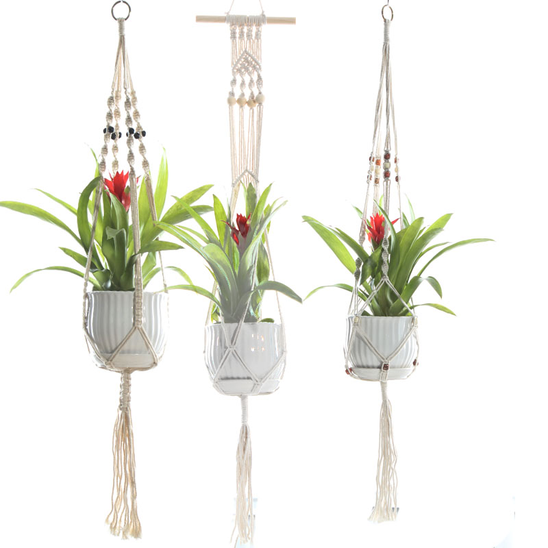 Interior decoration greening hand woven cotton rope plant hanging basket hanger sling hanging net net bag