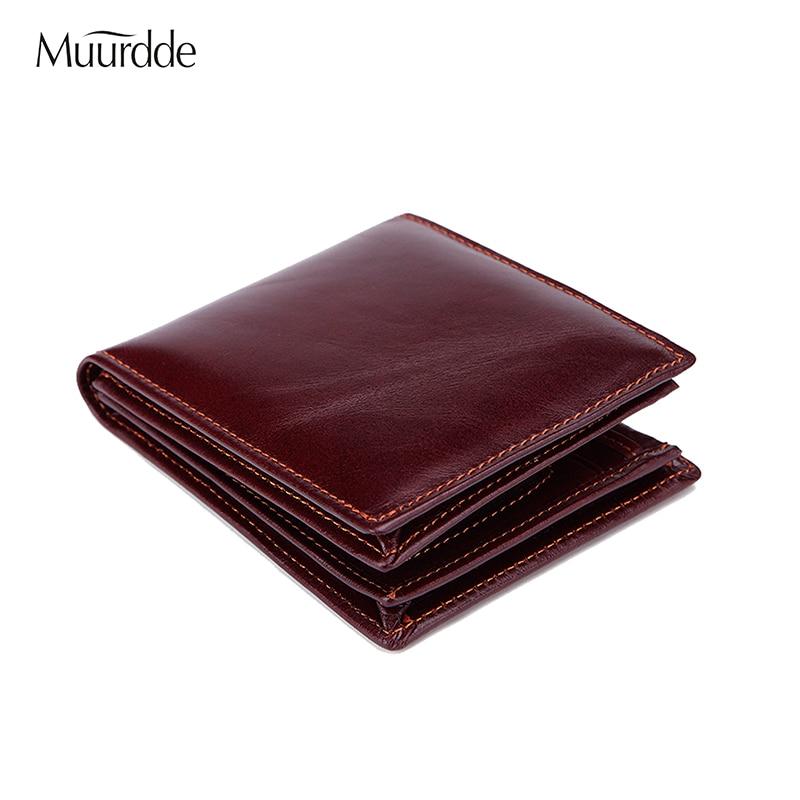 Muurdde 2018 New Oil Wax Genuine Leather Men Wallet Vintage Coin Purse Luxury Brand Bifold PORTFOLIO Small Mini Male Coin Purse