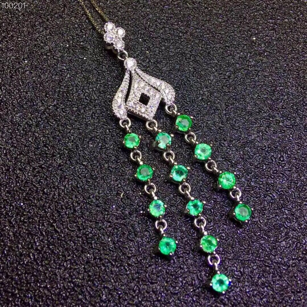 Natural green emerald Necklace natural gemstone Pendant Necklace S925 silver trendy Elegant women Jewelry