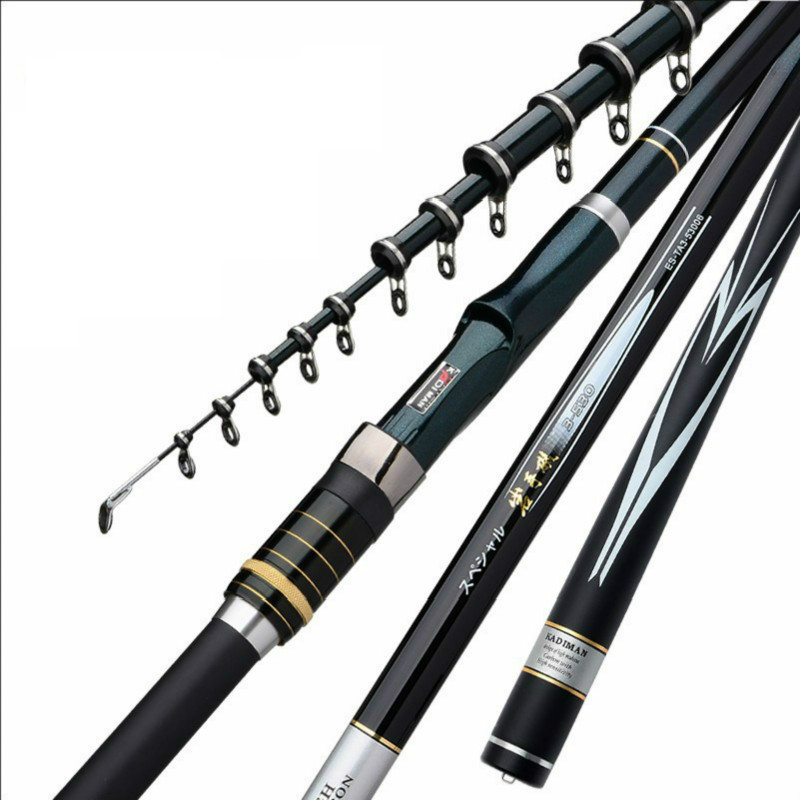 Rock Fishing Rod High Carbon Super Hard and Ultra Light Fishing Pole Inclined Guides Portable and