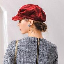 Terciopelo de las mujeres boina Otoño Invierno tapa octogonal sombreros  elegante artista pintor vendedor tapas negro a3187ee8bfd