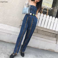 Sexy Denim jumpsuit Strapless Women 2018 New jeans Overalls playsuit High Waist Front Zipper Jean Jumpers and Rompers LT756S50