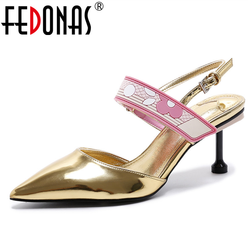 FEDONAS Brand Women Pumps Ankle Strap Genuine Leather Shoes Woman Pointed Toe Mid Heels Dress Work Pumps Ladies Wedding Shoes famiao 2018 women pumps ankle strap thick heel women shoes square toe mid heels dress work pumps comfortable ladies shoes