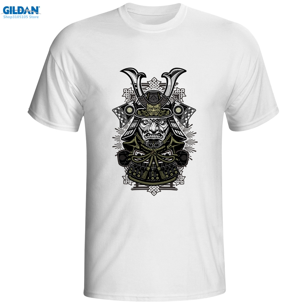 GILDAN printed short sleeve t shirt men Dark Warrior T-shirt Samurai Japan Punk Rock T Shirt