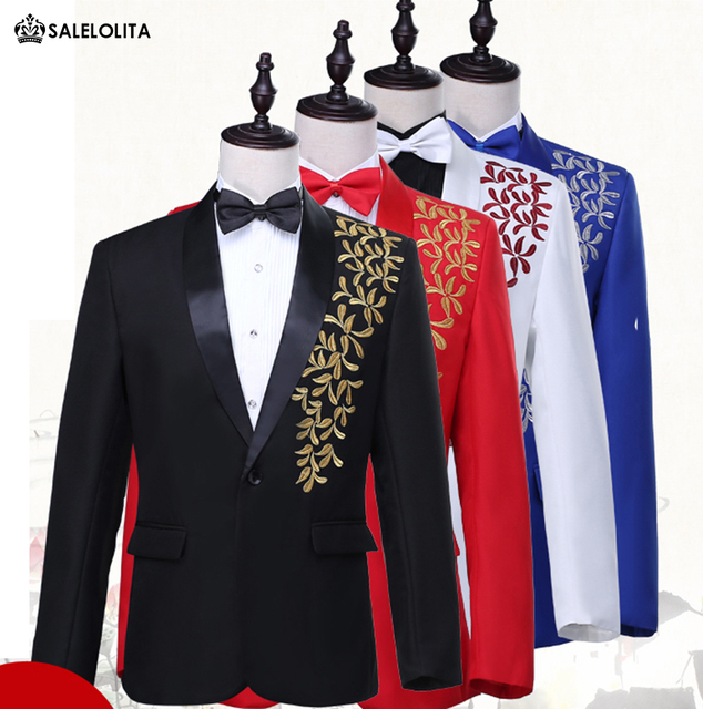 6589f05ec4 Blue/Black/Red/White Luxurious Gold Embroidery Bridegroom Groomsmen Suits  Stage Performance Jaceket with Pants