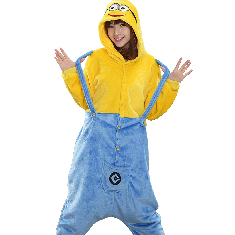 Yellow Minions   Pajama     Set   Women Men Unisex Adult Animal Pijama Flannel Onesie Cosplay Sleepwear Hoodie Halloween Holiday Costume