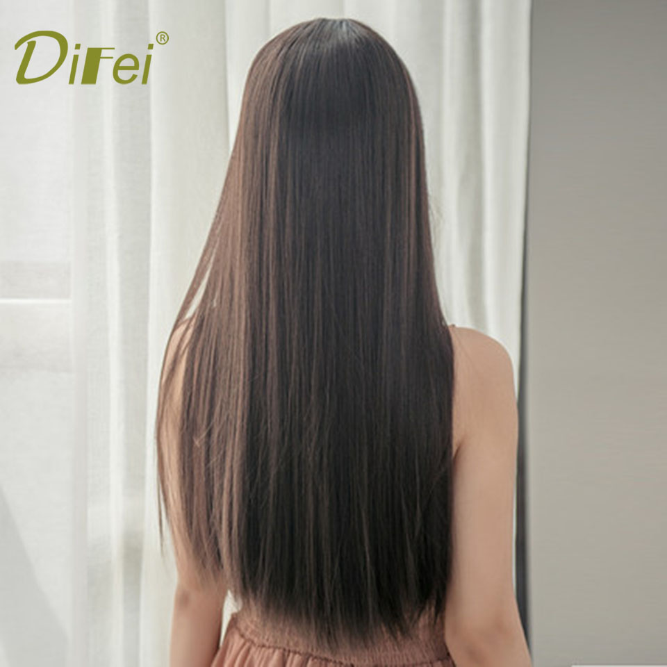 DIFEI Long Straight Female Cospaly Wig Halloween Party Wig Heat Resistant Synthesis Chemical Fiber