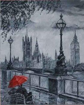 Pintura al óleo abstracta pintada a mano superior sobre lienzo la pareja con paraguas rojo se sienta alrededor del Mar pintura como lápiz