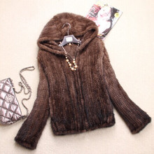 Autumn Ladies Genuine Real Knitted Mink Fur Coat Jacket with Hoody Winter Women Fur Outerwear Coats