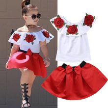 2019 New Design Summer Kids Baby Girl Off Should 3D Rose Flower Blouse Top  Red Bowknot Mini Dress Skirt Outfit Clothes Set 2PCS 6903aefd1a1d