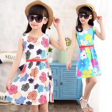 Summer Style Girl Dress Floral Print Cotton Birthday Party Sundress Baby Children Clothe Cotton Sleeveless Flower Lovely Dresses