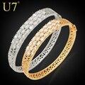U7 Luxury Zircon Jewelry Wholesale New Trendy Gold Plated Round Cubic Zirconia Bangle Bracelet Women H417
