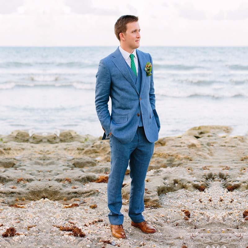 96 Fun Facts About Your Favorite Bridal Designers: Blue Linen Summer Beach Men Suits Wedding Mens Suits