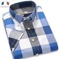 Langmeng Mens short-sleeved plaid shirt summer new fashion slim fit casual shirt mens short sleeve dress shirts male many color