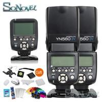 Yongnuo YN 560TX беспроводной контроллер триггер + 2x YN 560IV YN560IV ЖК дисплей Беспроводная камера вспышка для Nikon Canon SLR камера s