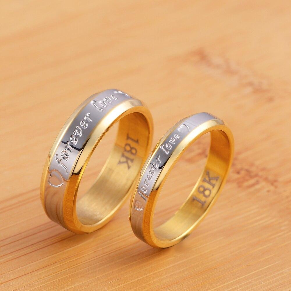 Модное стальное обручальное кольцо принцессы золотого цвета для женщин и мужчин, очаровательное кольцо для влюбленных, ювелирные изделия, ...