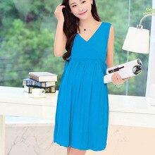 2016 Hot Fashion Maternity Pregnant Dress Sleeveless V-neck Women Dresses Cotton Summer Dress Pregnant Casual Clothes