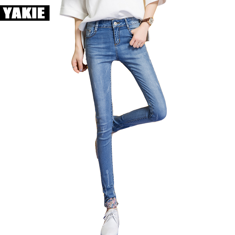 women skinny Jeans pants Women low waist Elasticity Pencil jeans ladies long spliced skinny denim pants Ripped Jeans For Women