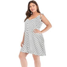 Romacci Women XXXL 4XL 5XL Plus Size Dress Polka Dot Print V Neck Sleeveless Tie Spaghetti Strap Dress Sexy Backless Mini Dress цена 2017