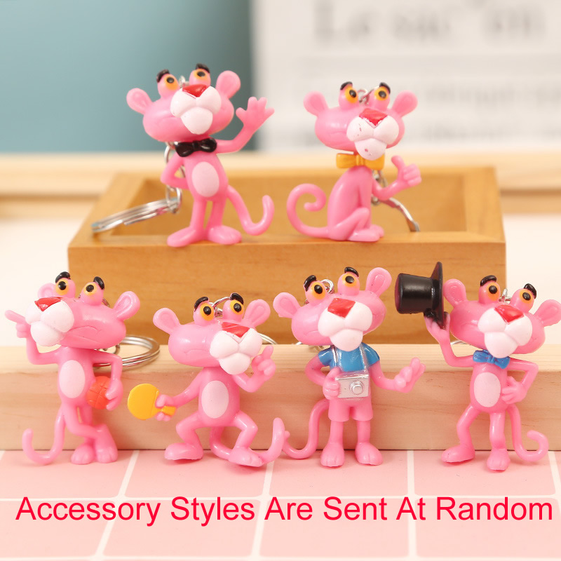 Cartoon Pink Panther Key Chain Cartoon Key Ring Gift For Women Girls Bag Pendant PVC Figure Charms Key Chains Jewelry Porte Clef