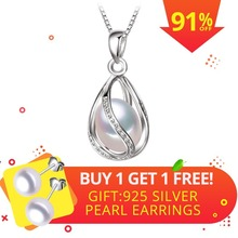 FENASY 펄 보석, natural 펄 펜 던 트 케이지 Necklace 자 fashion style 담수 펄 Silver Necklace 펜 던 트, gift box(China)