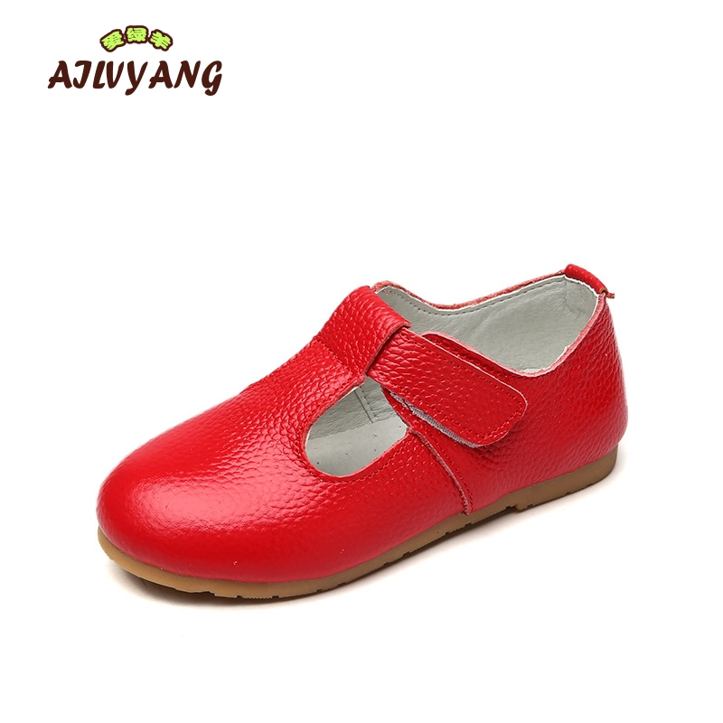 Girls Genuine Leather Shoes Children Spring Autumn Soft Comfortable Shoes Kids Fashion Single Leather Shoes Girls Flats