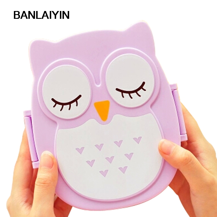 WholeTide10pcs * AUAU Fun Life Bento boîte dessin animé mignon hibou Bento déjeuner repas boîte vaisselle violet