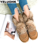 Large Size 42 Suede Ankle Boots Female Winter Plush Snow Boots Women Shoes Casual Womens Fur