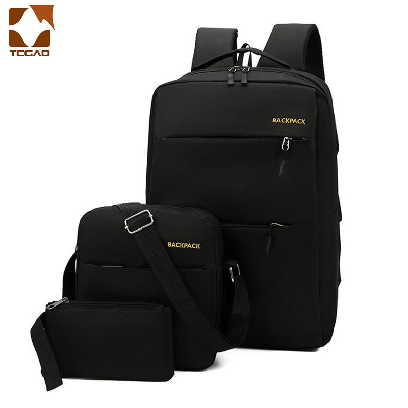 Mochila masculina backpack set 3 Pcs/set male Shoulder Bag Teenagers Man Student Book Bag erkek sırt çantası para adolescentes