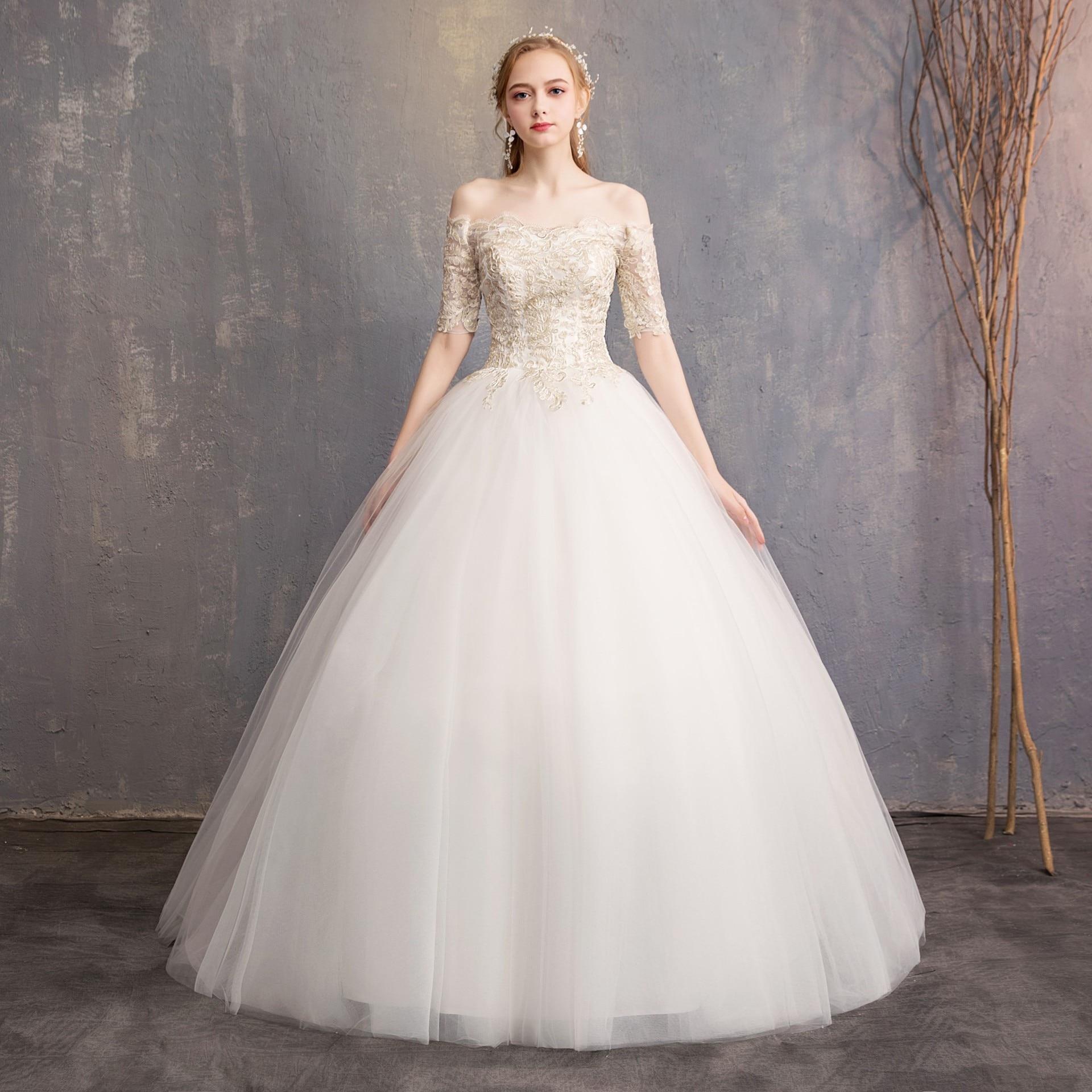 Bridal Elegent Light Wedding Dress 2019 New Style Shoulderless Champagne Lace Half-sleeves Large Size Slim Wedding Dress