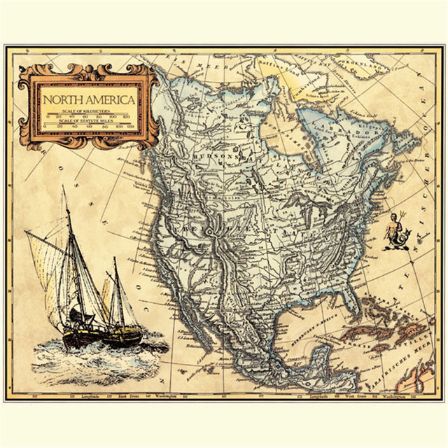 America Map With Compass.Unframed Lj 002 North America Compass Map Canvas Painting Abstract