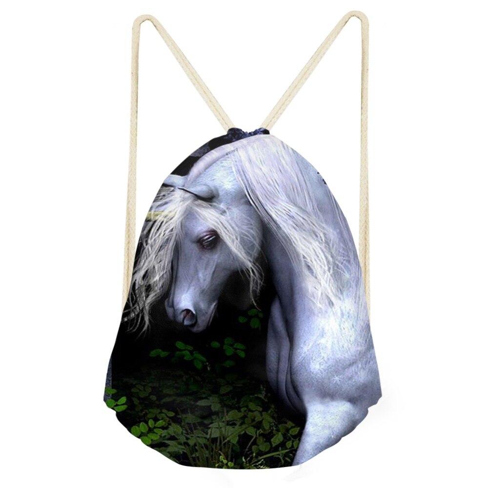 New Anime Printing Horse Portable Fashion Drawstring Bags Good Quality Backpack Women Travel Pouch Boys Girls Causal School Bag