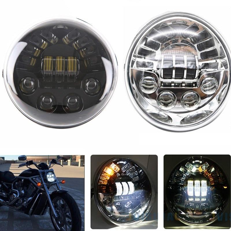 DOT E9 LED Oval Headlight With Yellow Turn signal White Daytime Running Light For Harley V