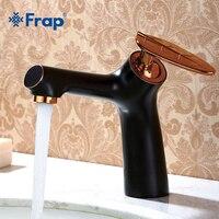 Frap 1 Set New Black Cooper Vintage Brass Single Handle Bathroom Basin Faucet Cold And Hot