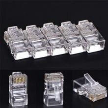 Adaptateur de prise RJ45 CAT5 CAT5e CAT6, connecteur modulaire en cristal, pour ordinateur, 50 pièces, 8P8C