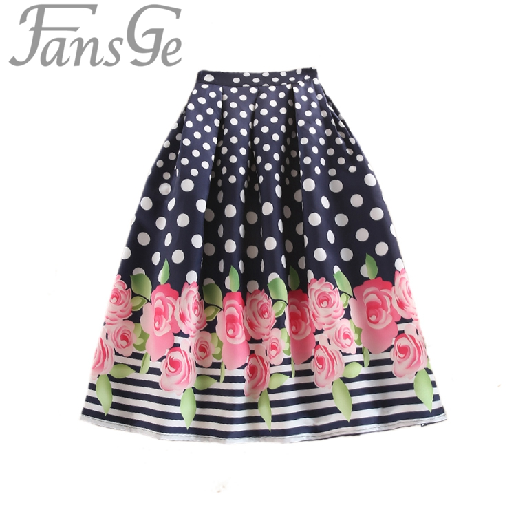 2017 Summer Autumn Retro Casual Pink Rose Polka Dot Print Skirts Ball Gown Women Pleated Flared Midi Length Skater Skirt Saia