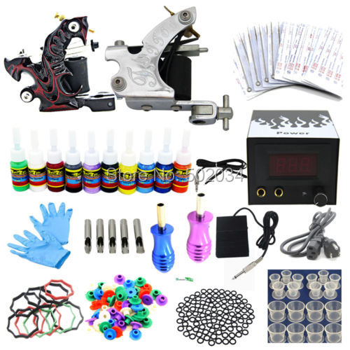 Ship From USA Pro Complete Tattoo Kit 2 Tattoo Machine Guns 10 Color inks Power Needles Tips Grips Equipment Supply Set