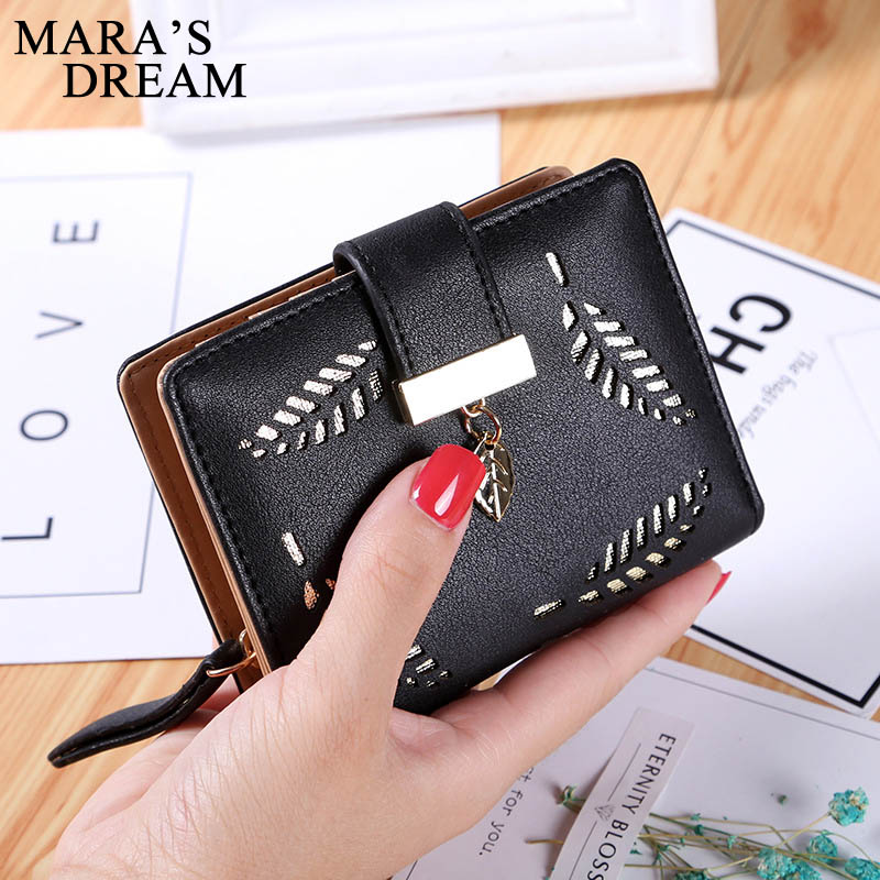 Mara's Dream Women's Purse Zipper Leather Ladies Wallet Women Luxury Brand Small Female Wallet Hollow Leaves For Credit Cards