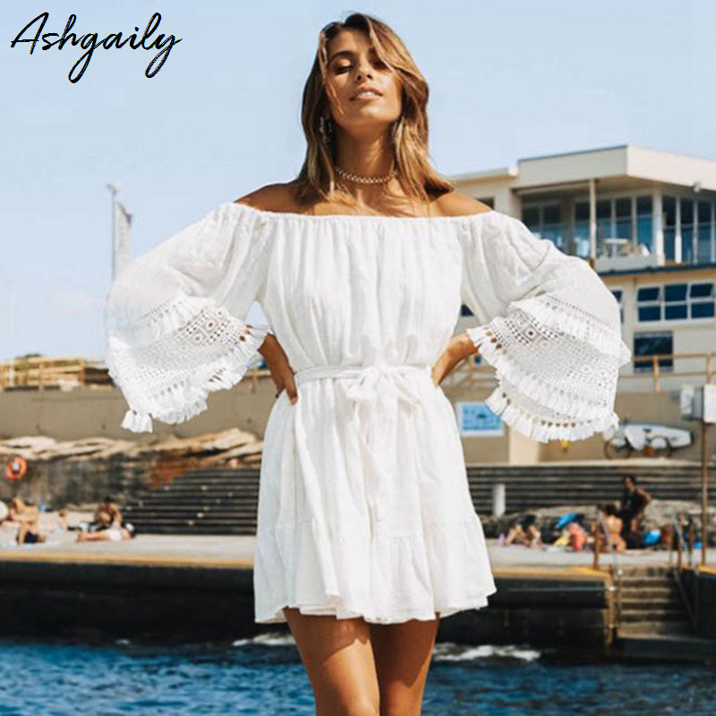 Ashgaily 2019 Summer Women Beach Wear Cover-ups White Cotton Tunic Bikini Wrap Skirt Swimsuit Cover Up Bath Dress Sarong Платье