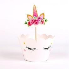 24 יח\חבילה סמיילי unicorn Cupcake עטיפות Toppers ילדים מסיבת יום הולדת קישוט עוגת כוסות (12 כורכת + 12 צילינדר לא קיסמים)