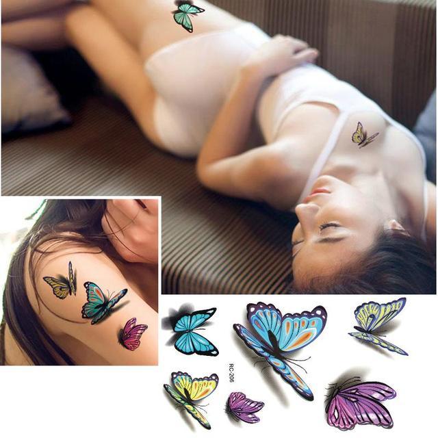 Increible Colorida Atractiva De La Mariposa 3d Flash Del Tatuaje