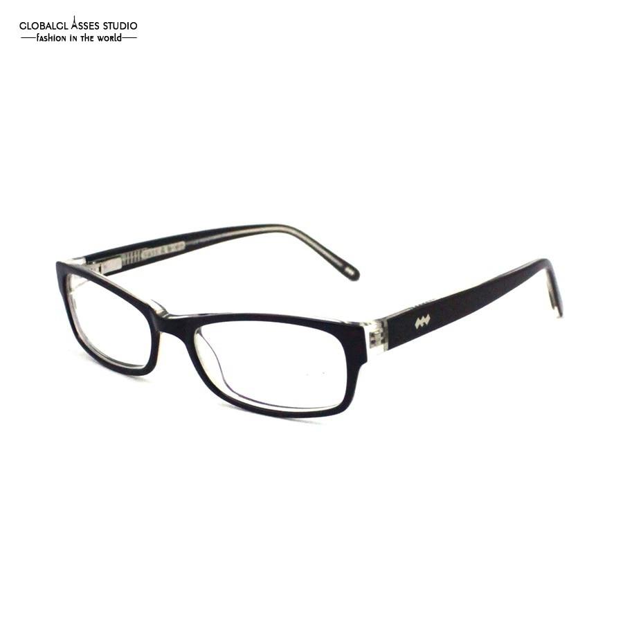 attractive rectangular acetate glasses frame women black on crystal spring hinge diamond optical eyeglasses pasadena
