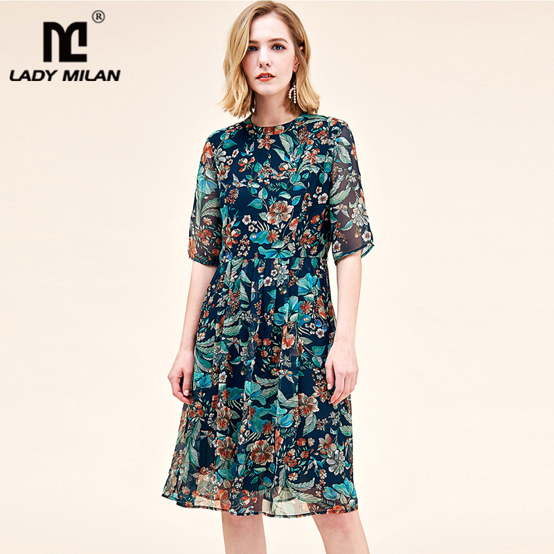 100 Natural Silk Women s Runway Dresses O Neck Half Sleeves Floral Printed Pleated Fashion Casual