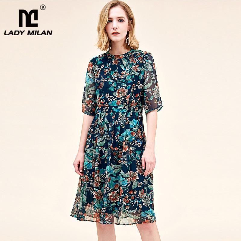 ผ้าไหมธรรมชาติ 100% ผู้หญิง Runway O คอครึ่งแขนพิมพ์พิมพ์จีบชุดลำลองแฟชั่น-ใน ชุดเดรส จาก เสื้อผ้าสตรี บน   1