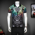 2017 summer England style leopard printed POLO shirts men Business casual slim Duplex printing POLO shirts for men size M-3XL