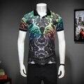 2017 summer inglaterra estilo leopard impreso polo camisas de los hombres de negocios ocasionales adelgazan la impresión dúplex polo shirts para hombre talla m-3xl