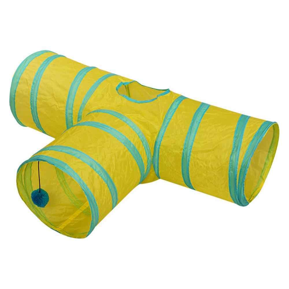 2/3/4 furos 15 Cores Dobrável Gato de Estimação Túnel Interior Ao Ar Livre Brinquedo Do Treinamento Do Gato do animal de Estimação para o Gato coelho Animal Jogar Túnel Tubo T-comum