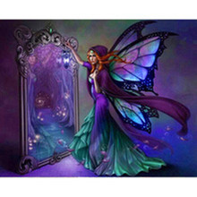 New Diy Diamond Painting 5D Square Full Purple Butterfly Elf Angel Embroidery Pretty