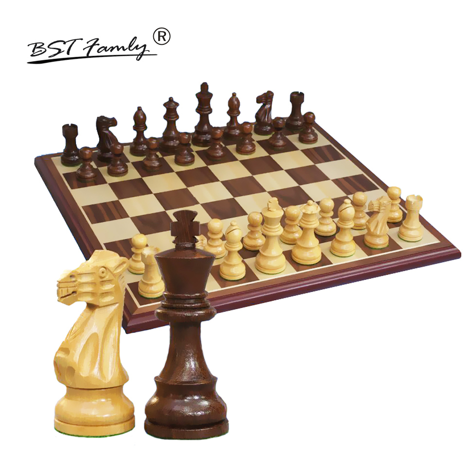 BSTFAMLY Wooden Chess Set Chessman International Chess Game Box Chessboard Pear Wood Chess Pieces King Height 97mm Toy Gift I41 все цены