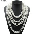 2017 Trendy fashion pearl jewelry multilayer necklace long imitation pearl necklace chain statement necklaces